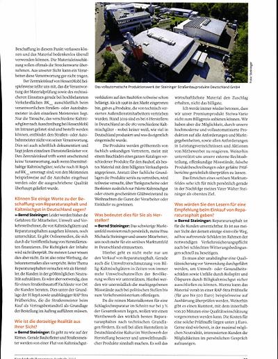 Sachverständigen Interview 2019 STEININGER Im Fachmagazin ASPHALT UND BITUMEN Sonderausgabe Reparaturasphalt 3