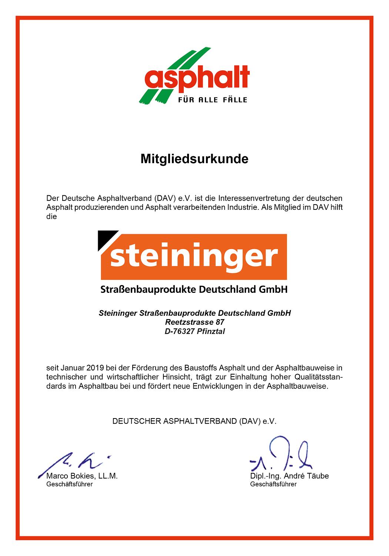 Steininger Mitgliedsurkunde Asphalt