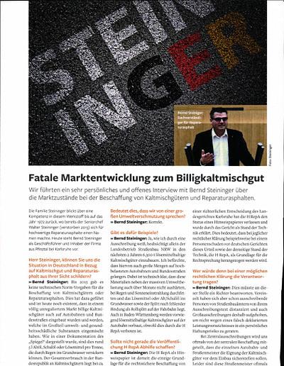 Sachverständigen Interview 2019 STEININGER Im Fachmagazin ASPHALT UND BITUMEN Sonderausgabe Reparaturasphalt 2