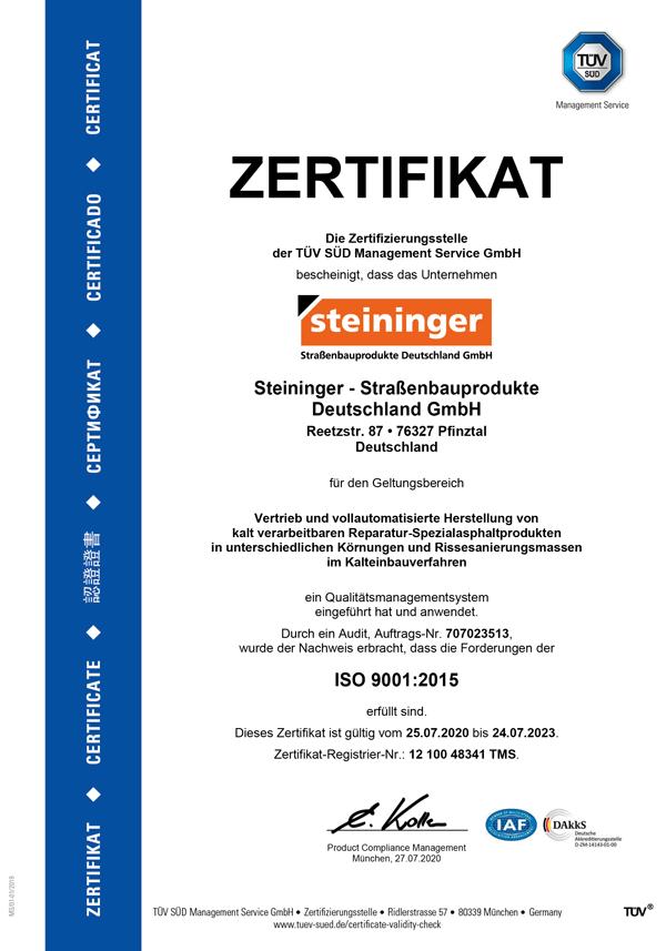 Steininger Iso 9001:2015 TÜV-Zertifikat